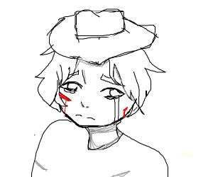a beat up and sad teenage cowboy