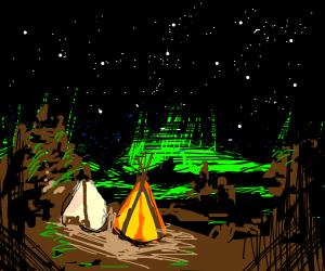 A forest campsite at night