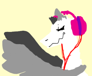 White dragon with pink headphones