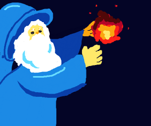 A wizard conjuring fire