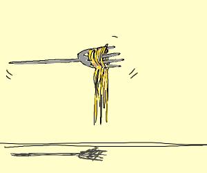flying fork full of spaghetti