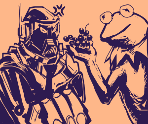 A robot is mad at Kermit for giving it grapes