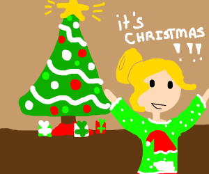 Blonde girl says it's Christmas