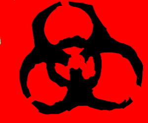 radioactive symbol with arms on it