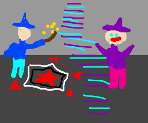 Wizard fends off witch with satanic ritual