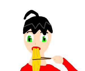 Anime boi eats noodles