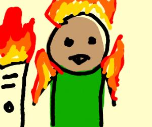 A flaming kid next to a broken computer