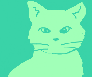 cat drawing with only green colors
