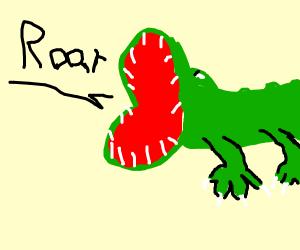 Green lizard man says roar