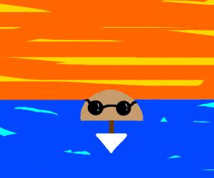 Overturned boat wearing sunglasses.