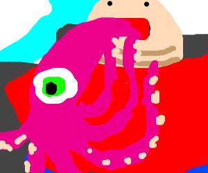 Fat man eats squid