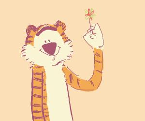 Hobbes finds a flower [Calvin&Hobbes]