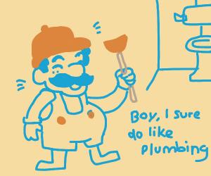 Mario actually doing his job as a plumber