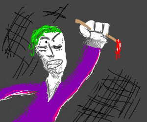 The joker with a brush in his hands