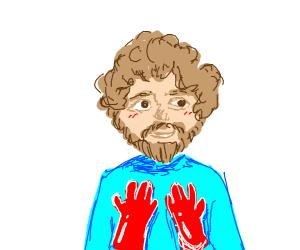 Bob Ross wearing Gloves