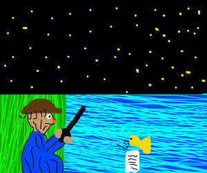 Guy fishing, in the water a fish and a letter