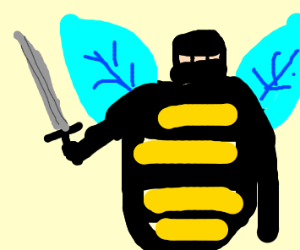 ninja in a bee costume where the yellow faded