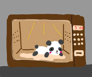 a panda in a brown microwave