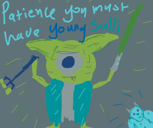Mike Wazowski conbined with Yoda