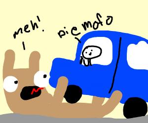 A llama getting ran over by calliuo's grandpa