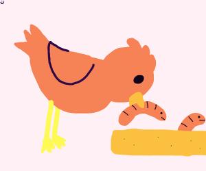 bird eats worm toast