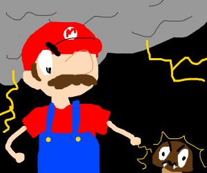 Mario zaps Goomba