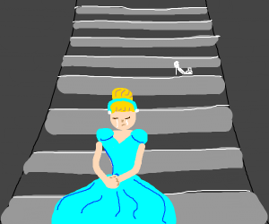 Cinderella sitting on the steps