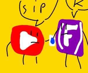 YouTube and Fornite sharing a beverage