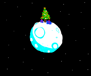 the moon with a Christmas tree on top