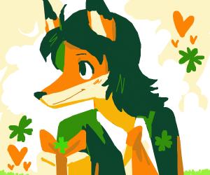 Fox girl in Japan uniform loves present