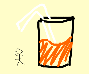 Tiny human and large glass of OJ