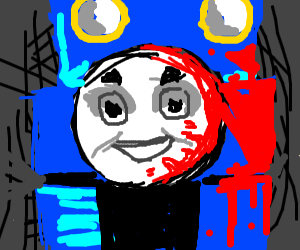 Shoked Thomas TankEngine with blood on face