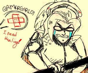 Gamer girl wants her character healed