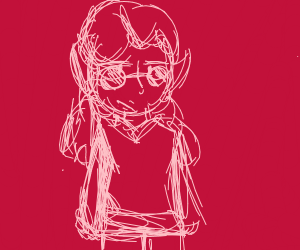 demon girl w/ frizzy pigtails & hip sunglasse