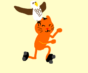 eagle riding a cat on roller blades