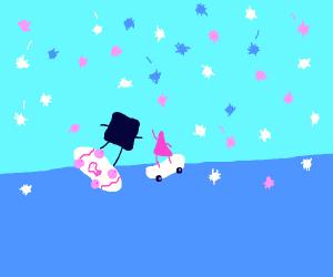 Shapes skating in pom poms