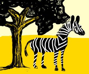 white on black striped zebra next to a tree