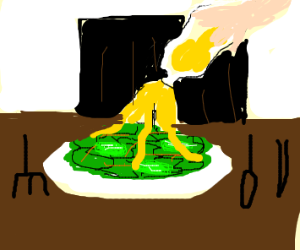 Yellow liquid being poured over salad