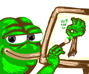 pepe painting a very nice tree