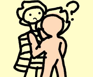 confused naked man strangles a criminal