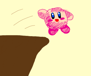 Kirby jumps off cliff