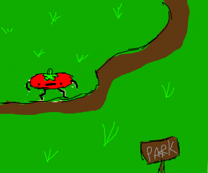 squeezed tomato walking in park (coding)