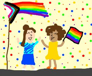 Two girls celebrating Pride Month