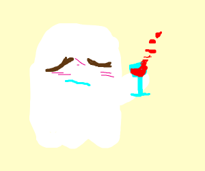 Ghostly man buys a bottle of wine