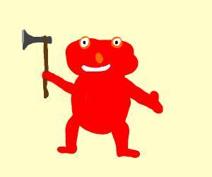 elmo with an axe