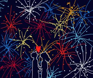 Love under fireworks