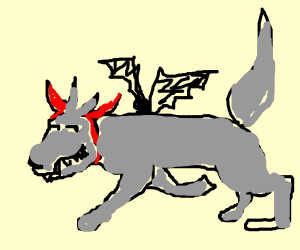 edgy wolf with devil horns and bat wings