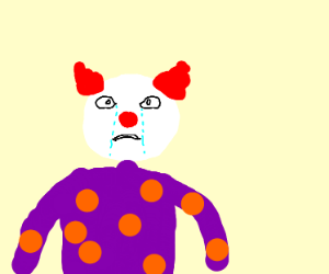 Lonely clown cries