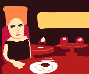 Bald Lisa S. At a restaurant