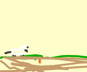 Depressed bunny hunts a carrot